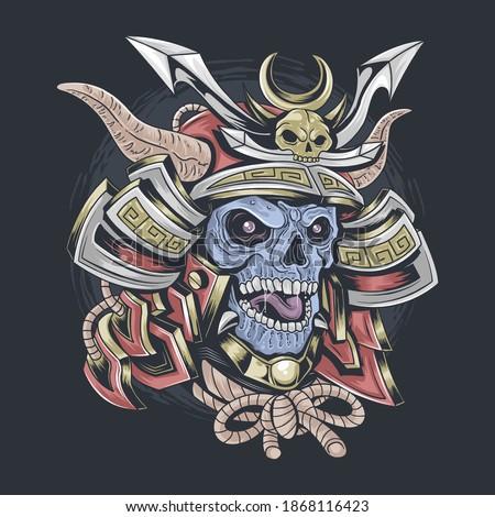 samurai skull wearing samurai helmet, editable layer vector