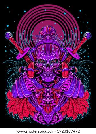 samurai skull with modern style neon light vector illustration