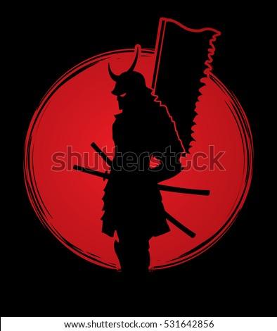 samurai standing designed on