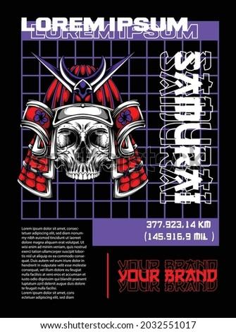 samurai street wear skull illustration apparel design samurai skull