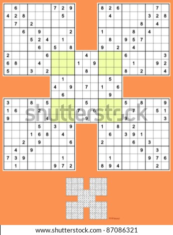 Samurai Sudoku. Full symmetry. Easy solution. 129 clues. - stock vector