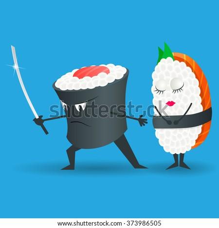samurai vector sushi cartoon