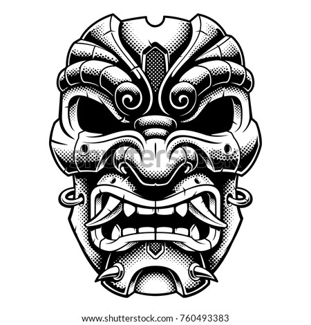 samurai warrior mask vector