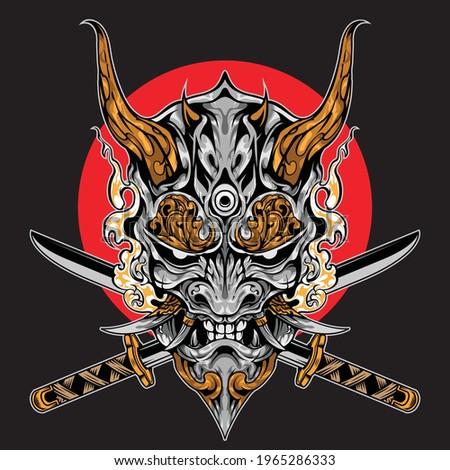 samurai warrior with katana. vector illustration