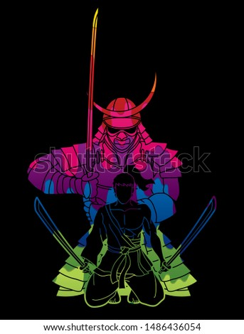 Samurai warriors with swords action cartoon graphic vector.