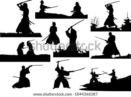 Samurai with the sword. Vector B&W illustration