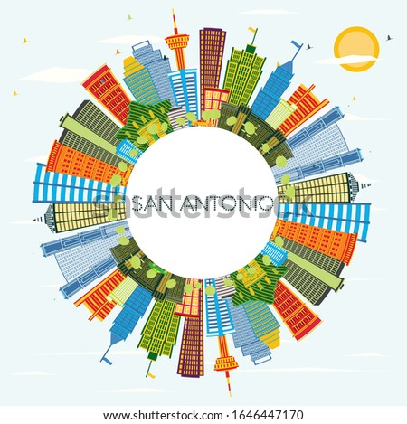 San Antonio Texas City Skyline with Color Buildings, Blue Sky and Copy Space. Vector Illustration. Business Travel and Tourism Concept with Modern Architecture. San Antonio Cityscape with Landmarks.