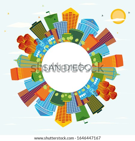 San Diego California City Skyline with Color Buildings, Blue Sky and Copy Space. Vector Illustration. Business Travel and Tourism Concept with Modern Architecture. San Diego Cityscape with Landmarks.