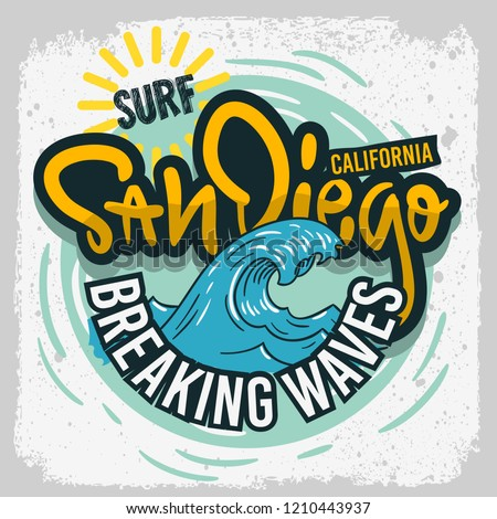 San Diego California  Surfing Surf  Design  Hand Drawn Lettering Type Logo Sign Label for Promotion Ads t shirt or sticker Poster Vector Image Stock fotó ©