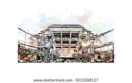 San Diego, City in California, USA. Watercolor splash with hand drawn sketch illustration in vector.