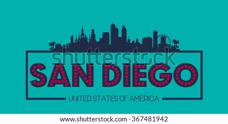 San Diego skyline silhouette poster vector design illustration