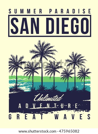 san diego typography with palms