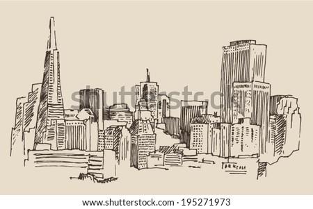 San Francisco big city architecture vintage engraved illustration hand drawn sketch