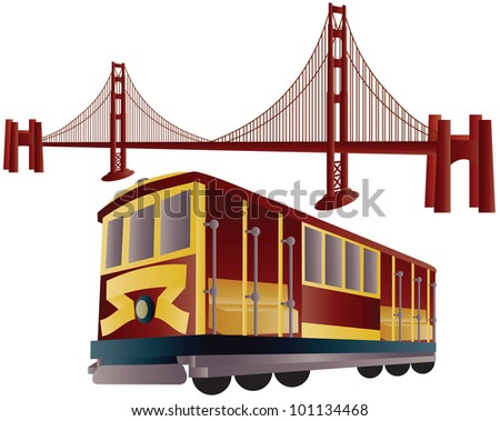 San Francisco Cable Car Trolley and Golden Gate Bridge Illustration