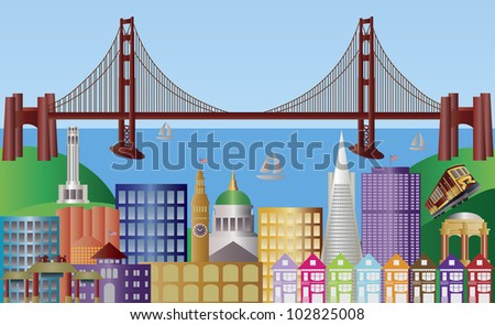 San Francisco California City Skyline with Golden Gate Bridge and Landmarks Panorama Illustration
