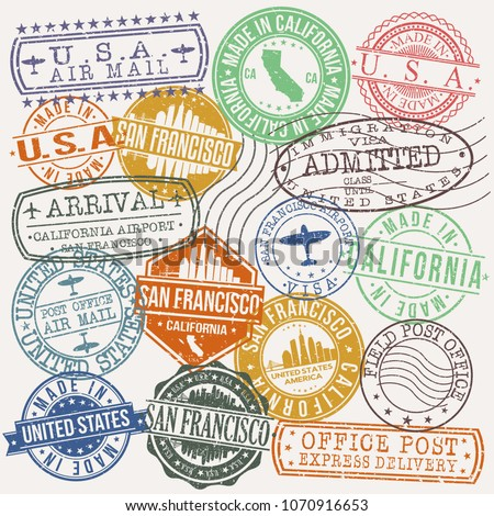 San Francisco California Stamp Vector Art Postal Passport Travel Design Set
