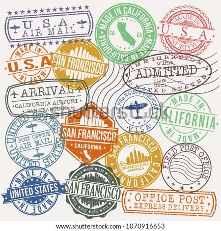 San Francisco California Stamp Vector Art Postal Passport Travel Design Set