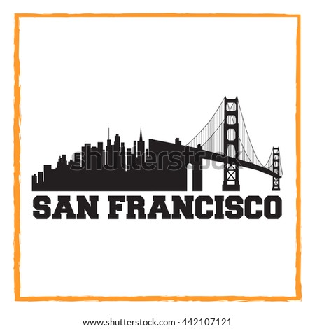 San Francisco City concept. Logo. Label. T-shirt design. SF. Creative poster design.