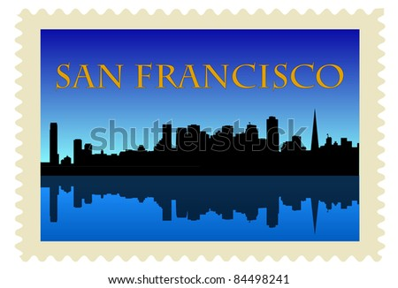 San Francisco high rise buildings skyline on stamp
