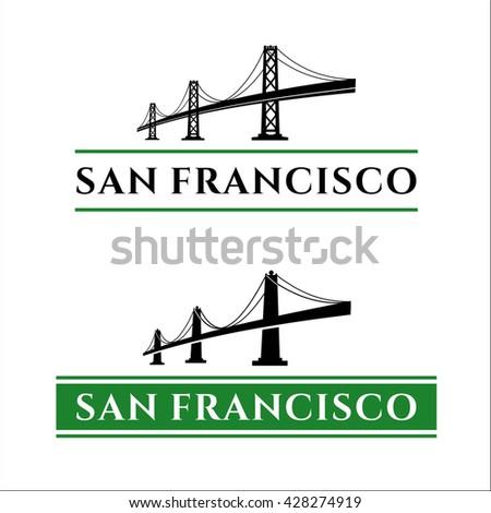 San Francisco - Oakland Bay Bridge vector illustration. California. San Francisco Business Center