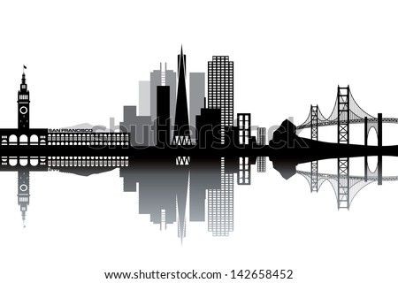 san francisco skyline   black