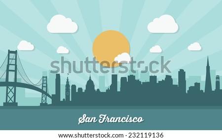 san francisco skyline   flat