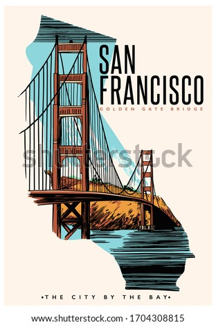 San Francisco slogan with Golden Gate Bridge illustration. Vector graphic for t-shirt print and other uses. San Francisco landspace illustration.