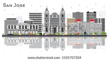 San Jose Costa Rica City Skyline with Color Buildings and Reflections Isolated on White. Vector Illustration. Business Travel and Tourism Concept with Modern Architecture. San Jose Cityscape.