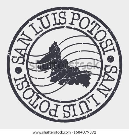 San Luis Potosí, San Luis Potosi, Mexico Stamp Postal. A Map Silhouette Seal. Passport Round Design. Vector Icon Design Retro Travel. Stockfoto ©