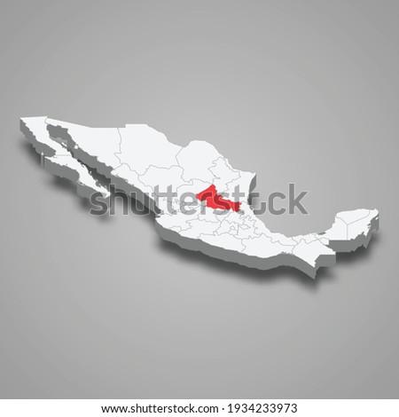 San Luis Potosi region location within Mexico 3d isometric map Stockfoto ©