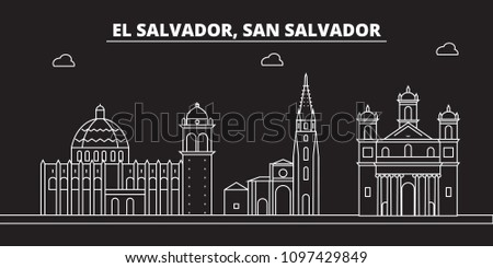 San Salvador silhouette skyline. El Salvador vector city, salvadoran linear architecture, travel illustration, outline landmark icon salvadoran line banner