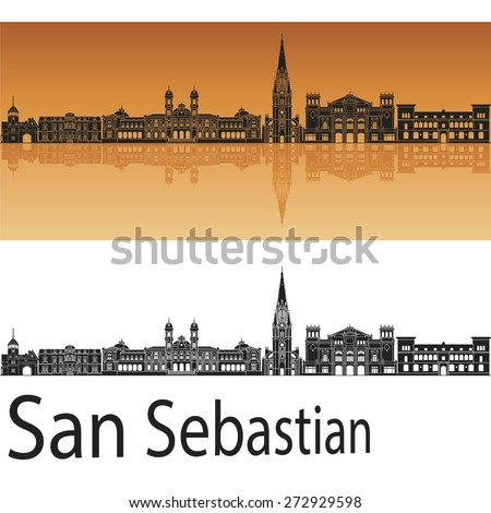 san sebastian skyline in orange