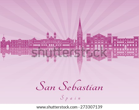 san sebastian skyline in purple