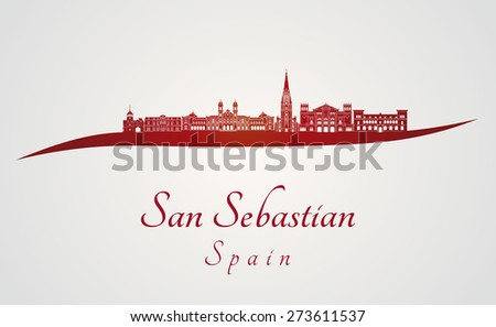 san sebastian skyline in red