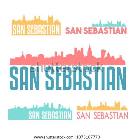 san sebastian spain flat icon