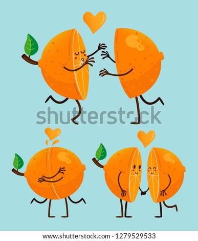 San Valentines's Happy Orange Couple cartoon #1279529533