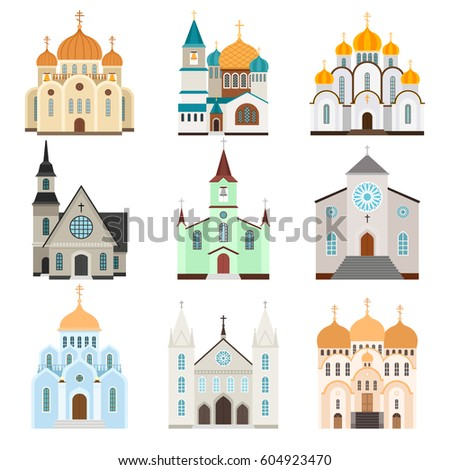stock-vector-sanctuary-building-icons-christian-basilica-and-church-flat-icons-vector-illustration