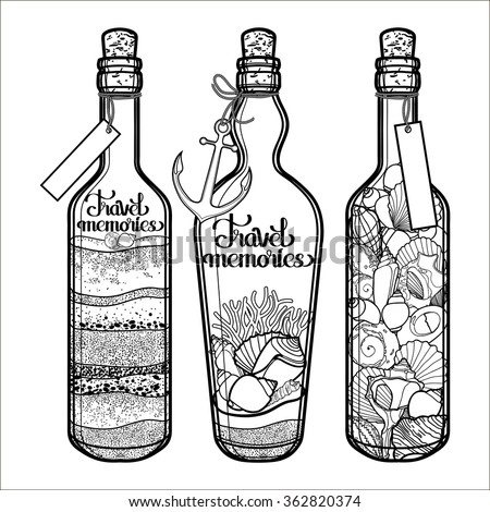 sand and seashells in bottles
