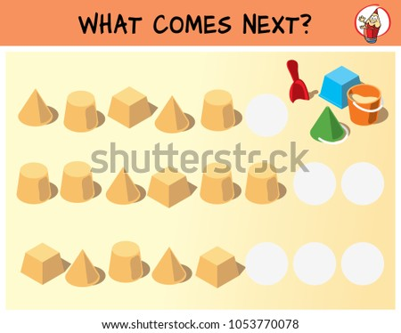 Sand cakes and children's toys. What comes next? Educational game for children. Cartoon vector illustration