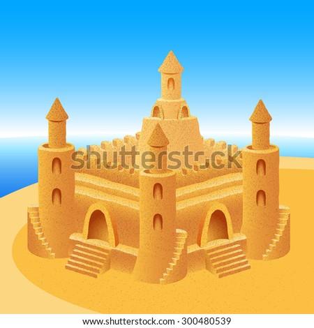sand castle on a sea summer