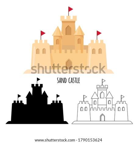 sand castle set cartoon