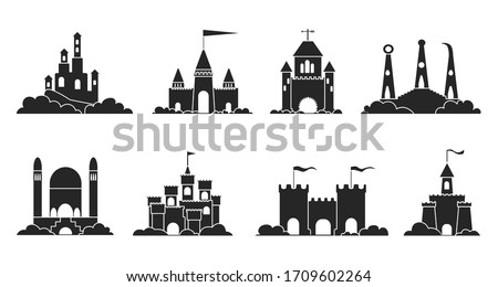 Sand castle vector illustration on white background . Sandcastle vector black set icon. Isolated black set icon sand castle. stock photo