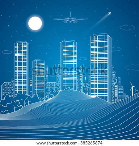 Sand dunes, mountains, desert, night city on background, infrastructure illustration, airplane fly, white lines, vector design art