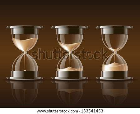 Sand falling in the hourglass in three different states on dark background. Vector illustration