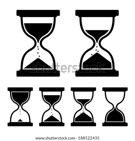 sand glass clock icons set