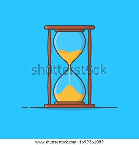 Sand Hourglass Vector Icon Illustration. Sandglass Icon. Sand Timer. Hourglass Clock
