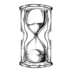 Sand watch glass engraving vector illustration. Scratch board style imitation. Black and white hand drawn image.
