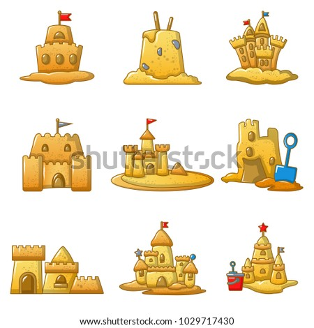 Sandcastle beach icons set. Cartoon illustration of 9 sandcastle beach vector icons for web