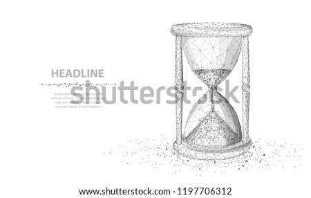 Sandglass. Abstract 3d wireframe lock isolated on white. Time, countdown, deadline concept illustration or background