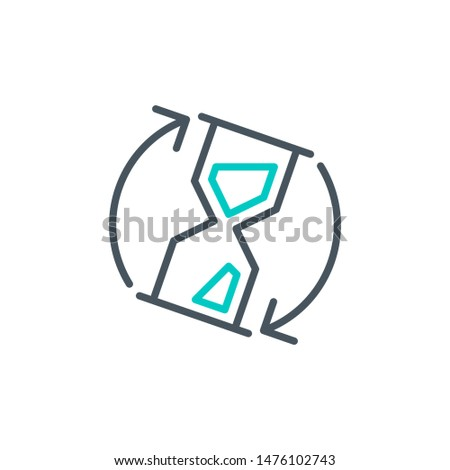sandglass clock outline flat icon. Single high quality outline logo symbol for web design or mobile app. Thin line waiting logo. Black and blue wait clock icon pictogram isolated on white background